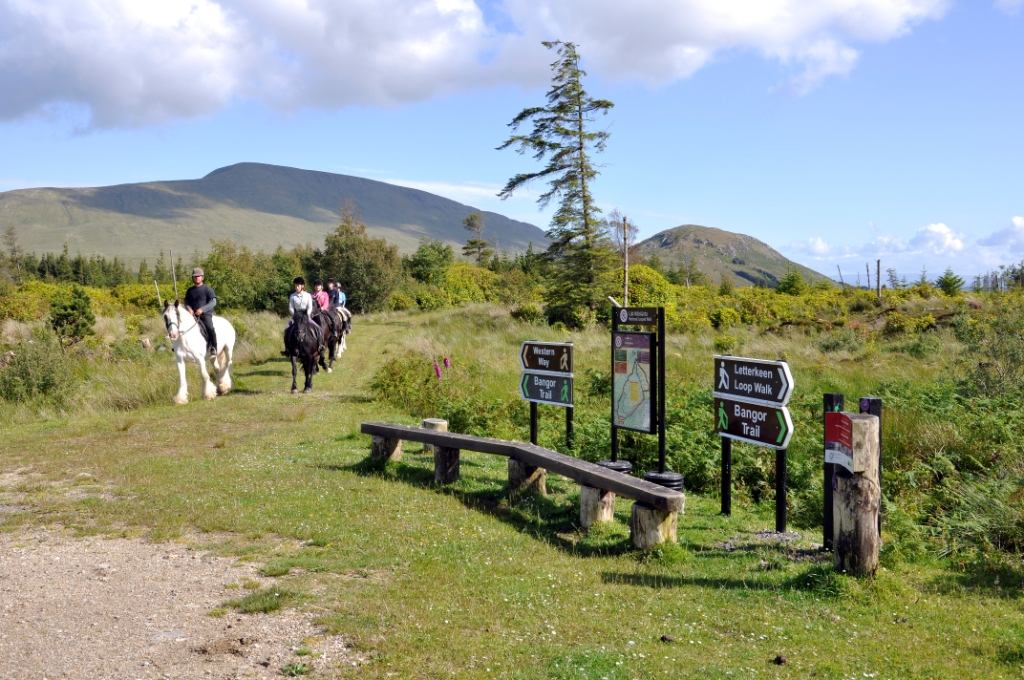 Riders at the starting point of the Bangor Trail, part of Mulranny Mountain Trail