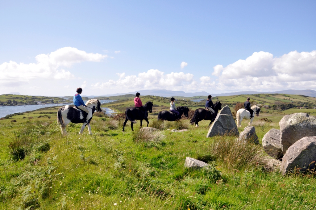 Riders on Rose Hill, adjacent to the Grainne Uaile Castle in Carrowholly overlooking the Islands in clew Bay