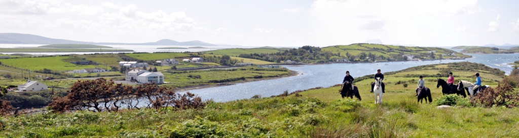 Panoramic views over the vast seascape of Clew Bay